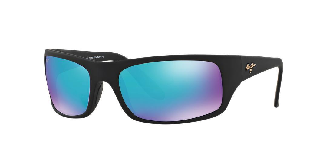 95d02e86ea3 Maui Jim Peahi Polarized Sunglasses, 202 Blue Hawaii Collection In Black  Matte/Blue Mirror