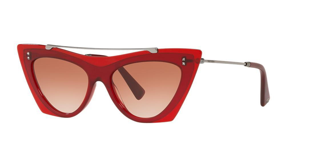 50ac3269a329c Valentino Va4041 53 Red Cat-Eye Sunglasses In Red Frames/Pink Lenses ...