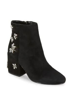 c0200aac5c9f Sam Edelman Taye Suede Embellished Ankle Boots In Black
