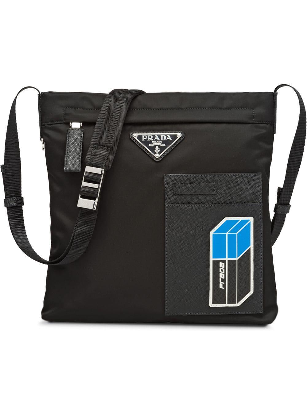 af9dfd2dc807 Prada Logo Plaque Messenger Bag - Black | ModeSens