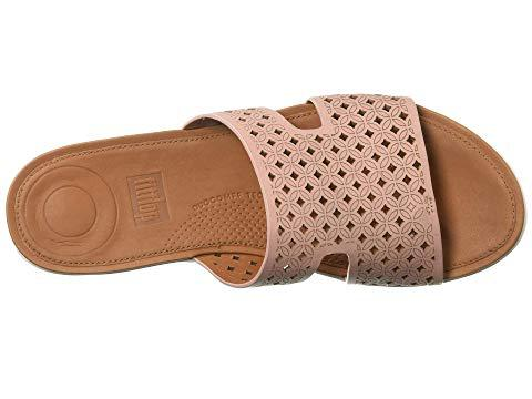 fd15f6b9a066 Fitflop H-Bar Lattice Leather Slide Sandals In Pink
