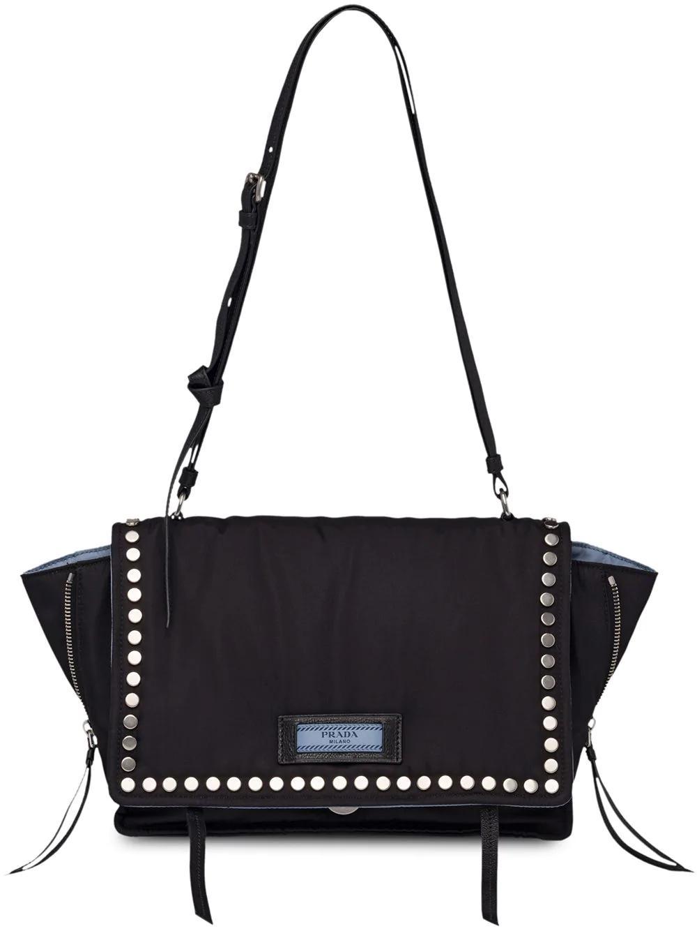 9f92fcb997d0 Prada Stud-Embellished Nylon Cross-Body Bag In Black | ModeSens