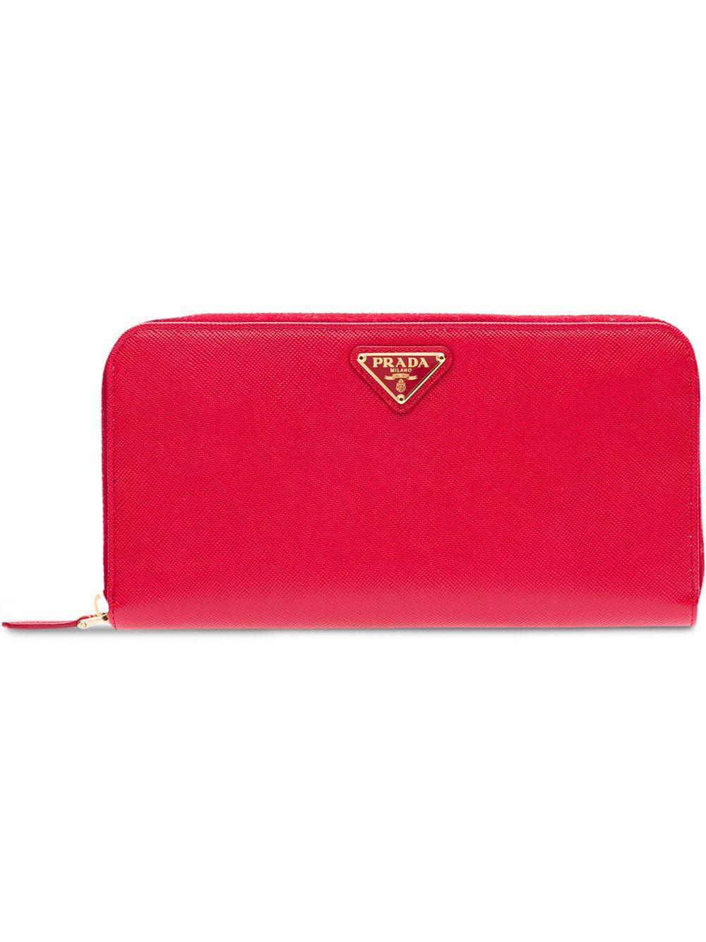 7a51b1efe534 Prada Large Saffiano Leather Wallet - Red | ModeSens