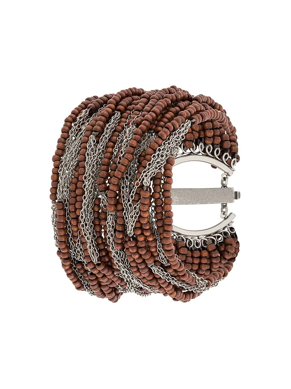 Marc Le Bihan Chains And Beads Bracelet - Brown