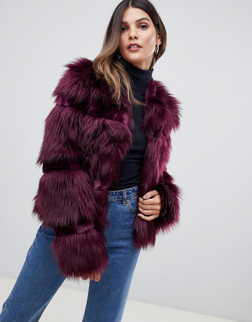 54b9f89a8bd5 Urbancode Short Coat In Faux Fur Mix - Red | ModeSens
