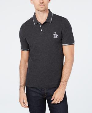 0f96f6c2 Original Penguin Men's Slim Fit Tipped Polo, Created For Macy's In Dark  Charcoal Heather