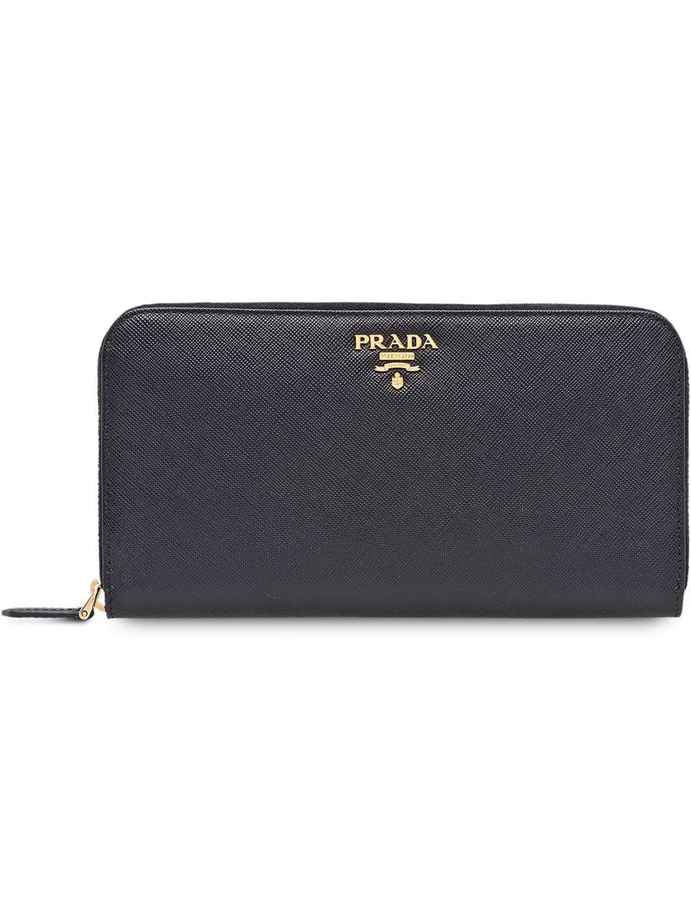 4600329c023b64 Prada Saffiano Metal Oro Zip-Around Wallet, Black (Nero) | ModeSens