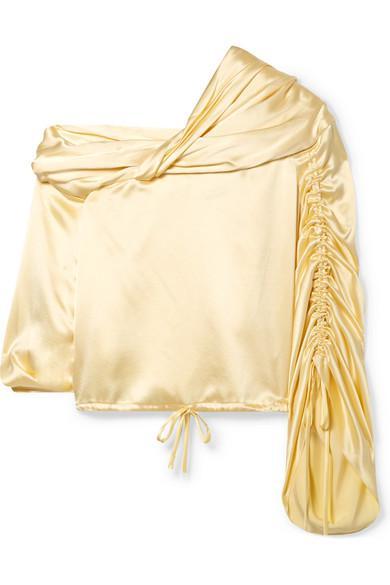 e5bea9b9cdfce6 Hellessy Sunshine Draped Asymmetric Silk-Charmeuse Blouse In Pastel Yellow