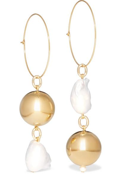 Pagoda Fruit Gold Plated Pearl Earrings