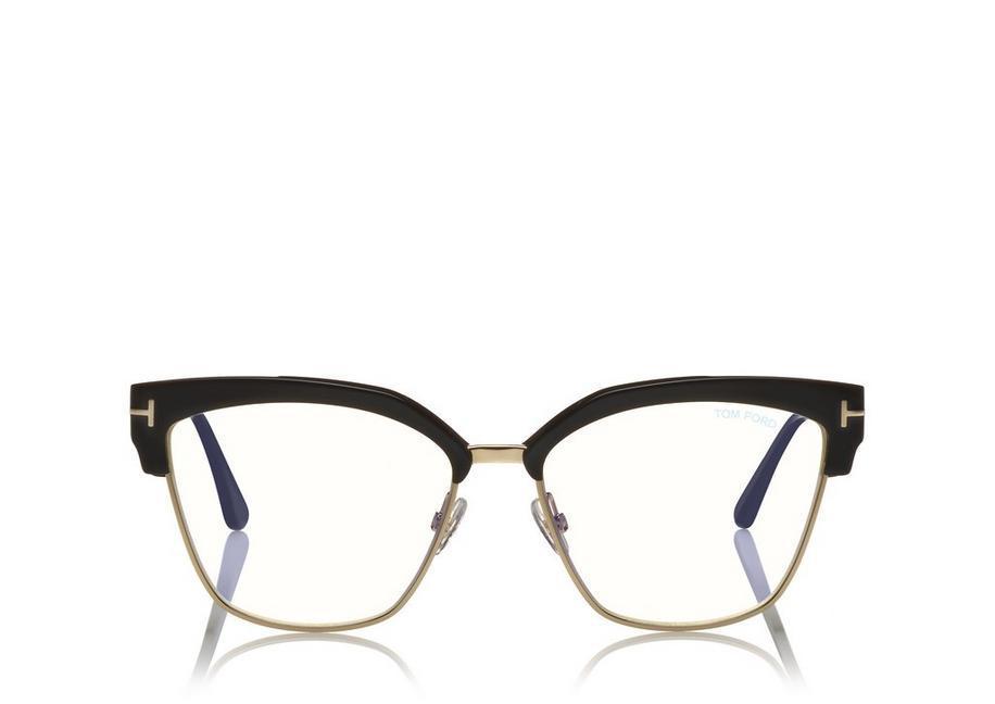 ec136389d42e Tom Ford Blue Block Metal Cateye Opticals In Black