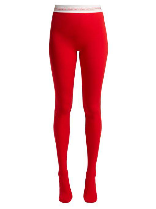 f5b9ce087a0 Marine Serre - Logo Waist Tights - Womens - Red
