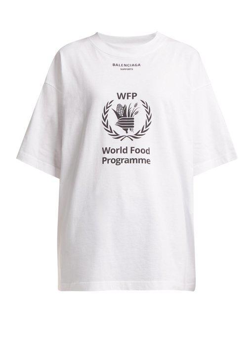 911f0d34 Balenciaga - Logo Print Cotton Jersey T Shirt - Womens - White Black ...