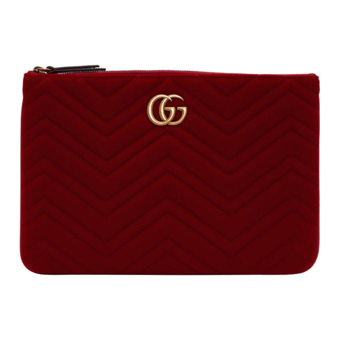 989edd4b962 Gucci Red Velvet Gg Marmont 2.0 Pouch In 6433 Red