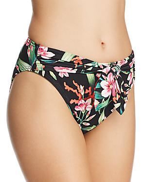 3daf63b6b72d0 Carmen Marc Valvo Printed Tie-Front Bikini Bottoms Women's Swimsuit In  Black Floral