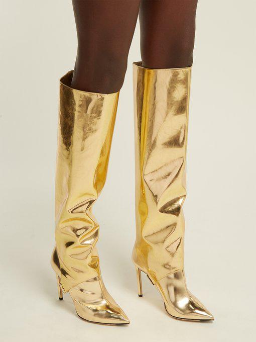 f2b6c963f789 Jimmy Choo Hurley 100 Gold Liquid Mirror Leather Two-Piece Knee High Booties