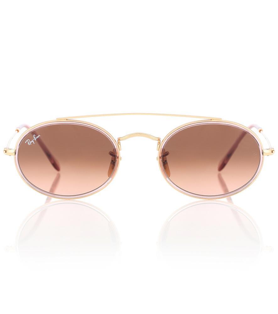 200275f870 Ray Ban Oval Double Bridge Sunglasses In Gold