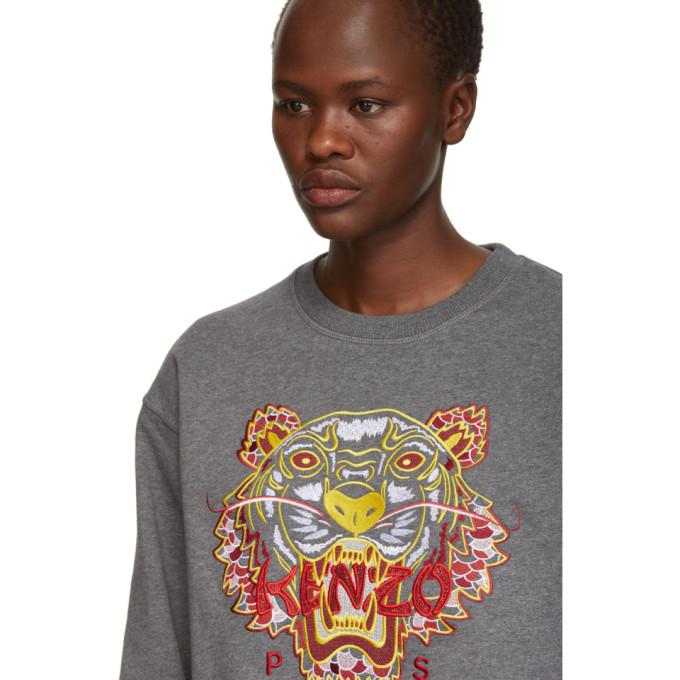 86242ff9 Kenzo Dragon Tiger Logo Crewneck Pullover Sweatshirt In 97 Dk Grey ...