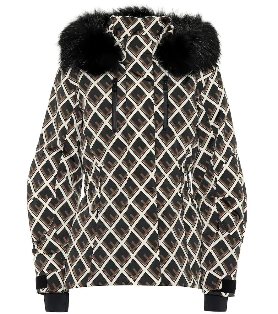 Fendi Printed Fur-Trimmed Ski Jacket In Black  9e7040af0