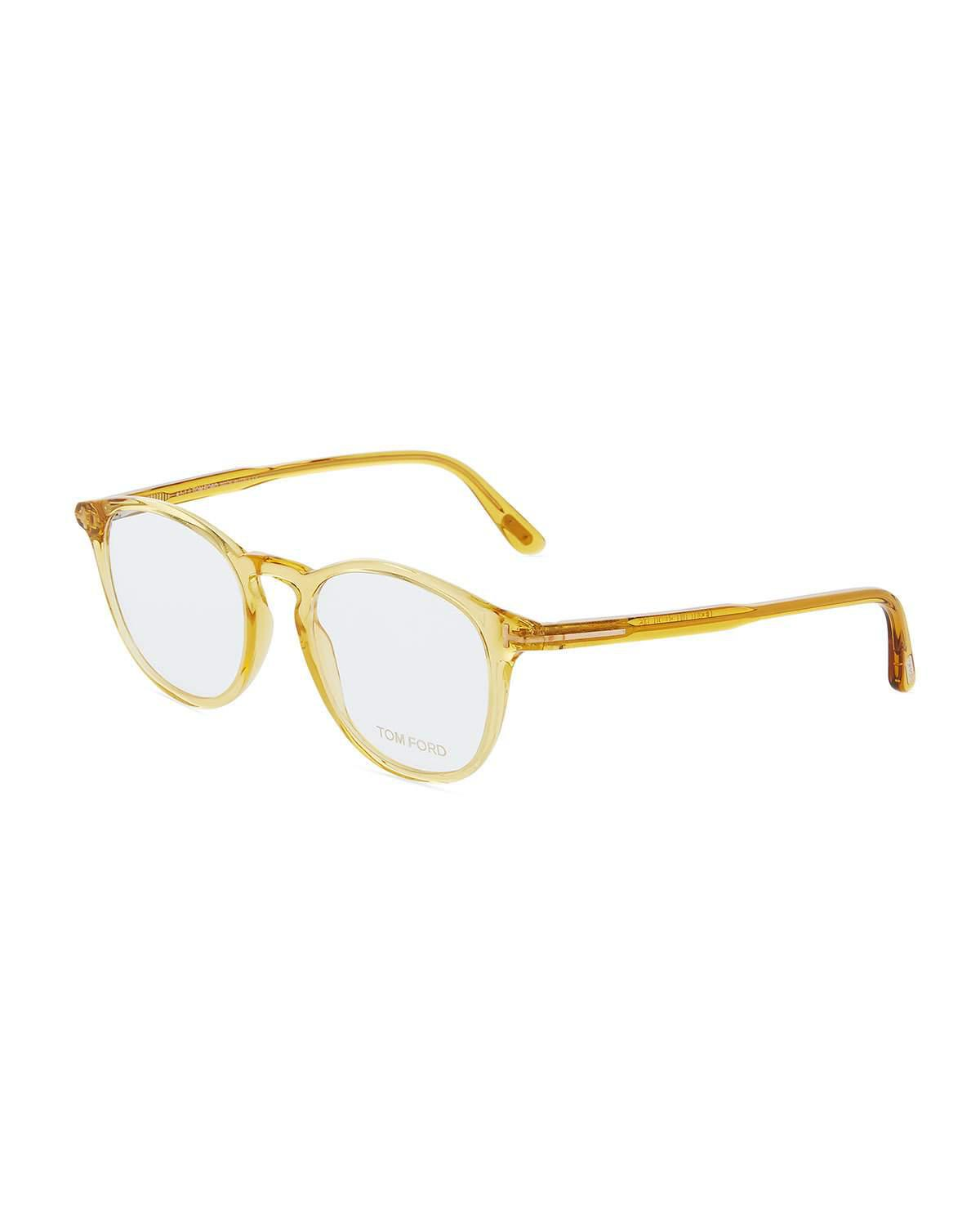 9b5c7bdfb2bc6 Tom Ford Round Translucent Acetate Optical Glasses In Yellow