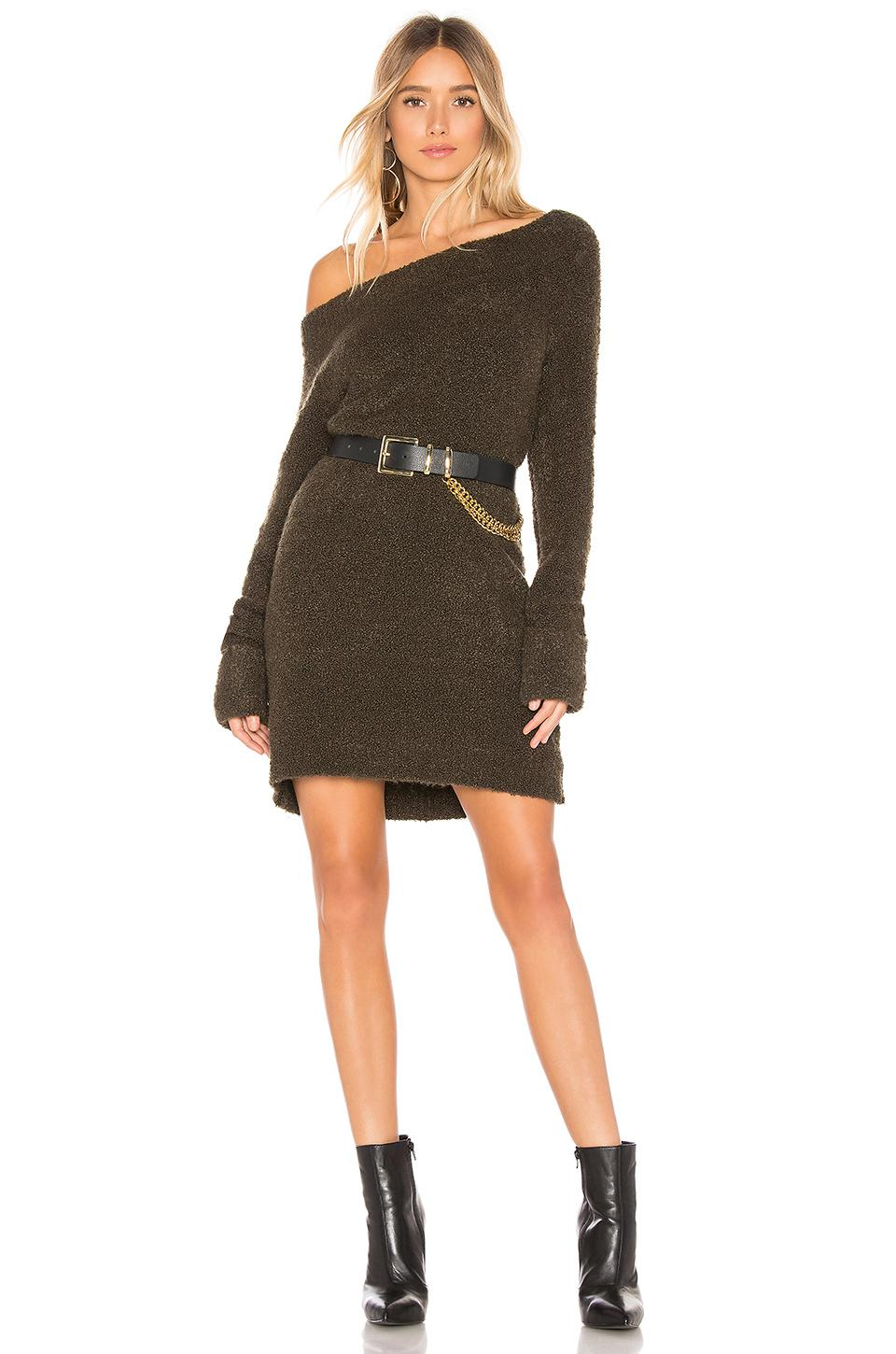 a20be3f1d1c2bf Marled X Olivia Culpo Off Shoulder Sweater Dress In Olive