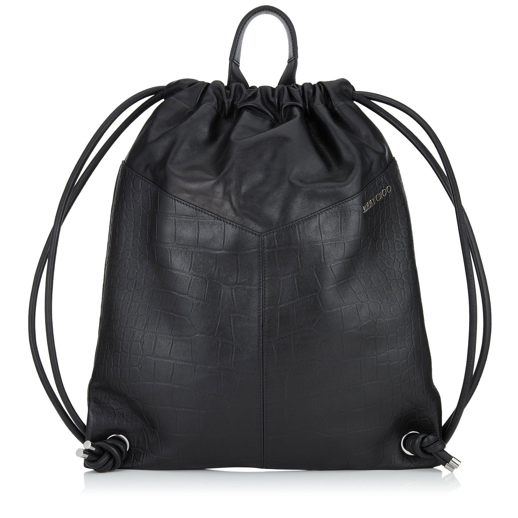 926afc88f438 Jimmy Choo Marlon Black Biker Leather And Nylon Drawstring Backpack With  Stars
