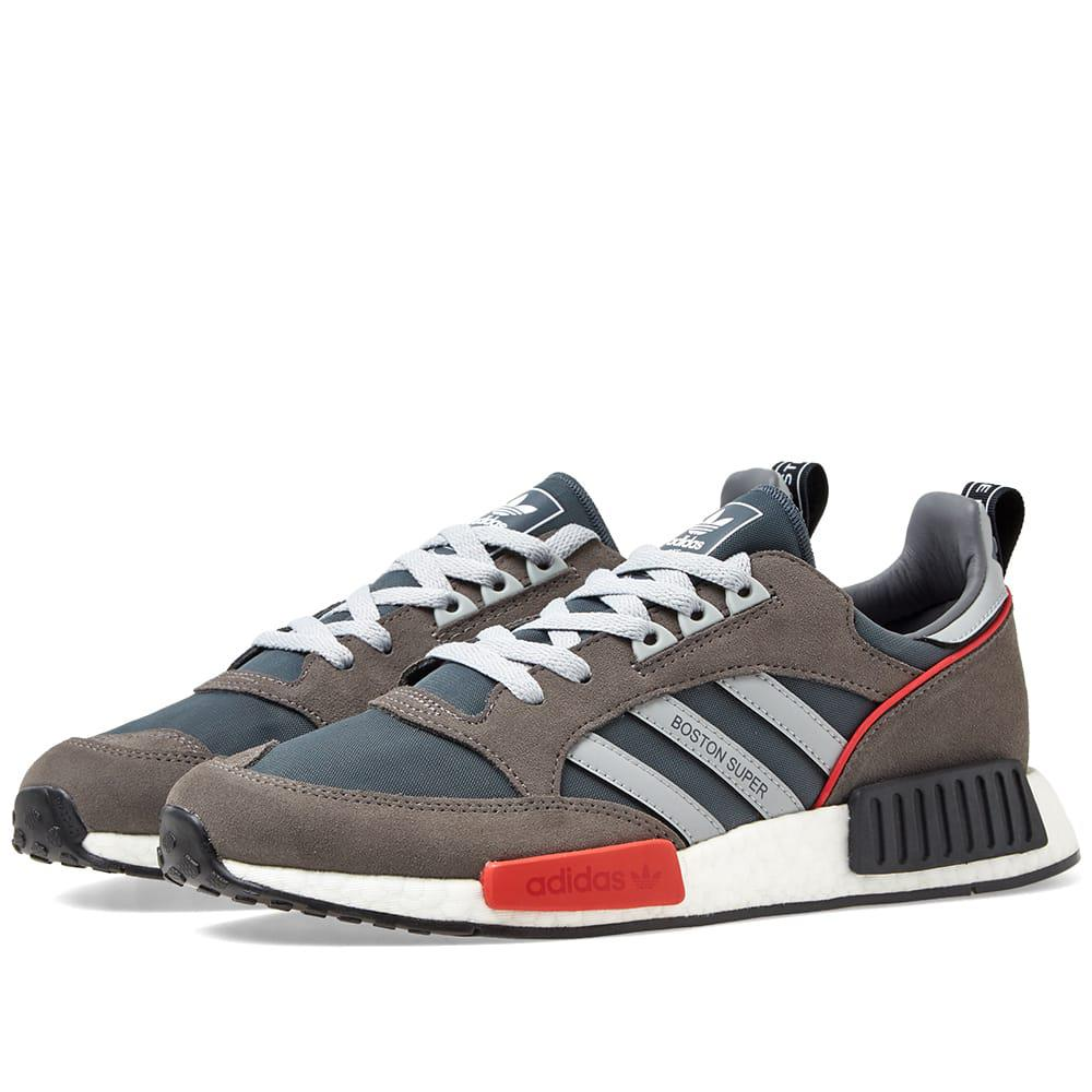 4c42037ea3f6 Adidas Originals Adidas Never Made Multicoloured Boston Super R1 Suede  Sneakers - Grey