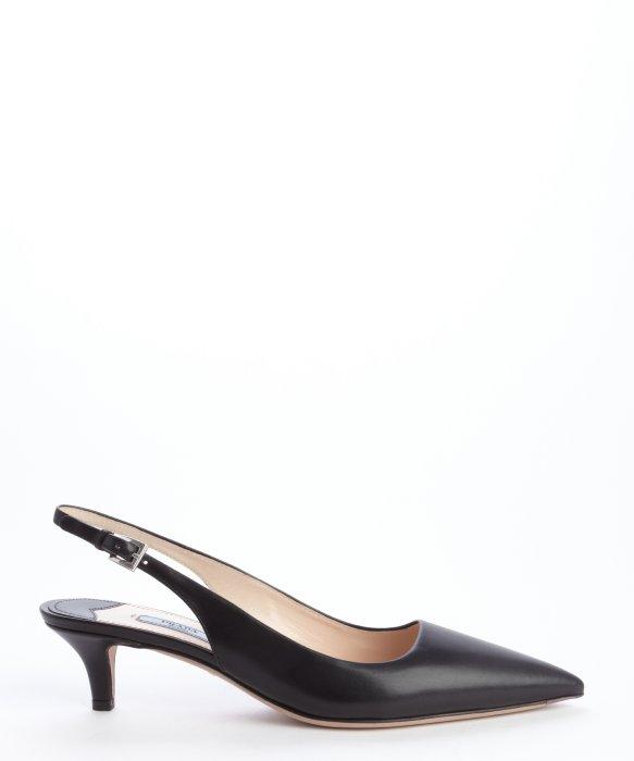 07f6b1a4cc6 Prada Black Saffiano Leather Slingback Kitten Heel Pumps
