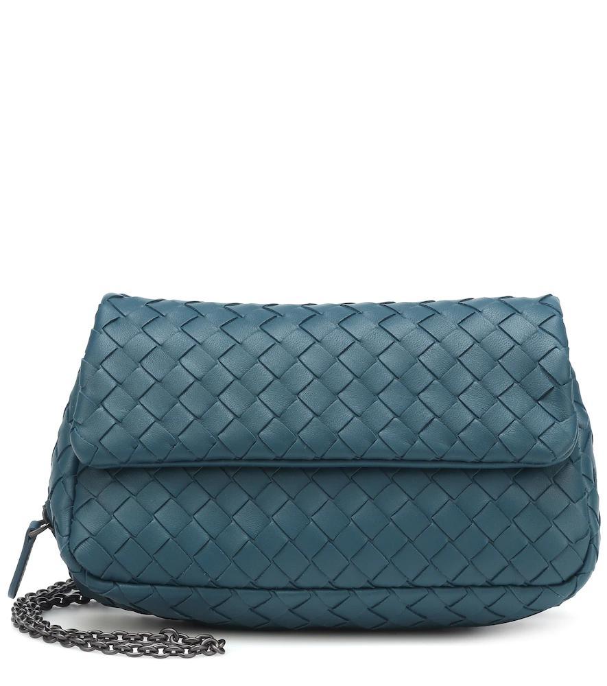 6b8b7010a022 Bottega Veneta Intrecciato Leather Shoulder Bag In Blue