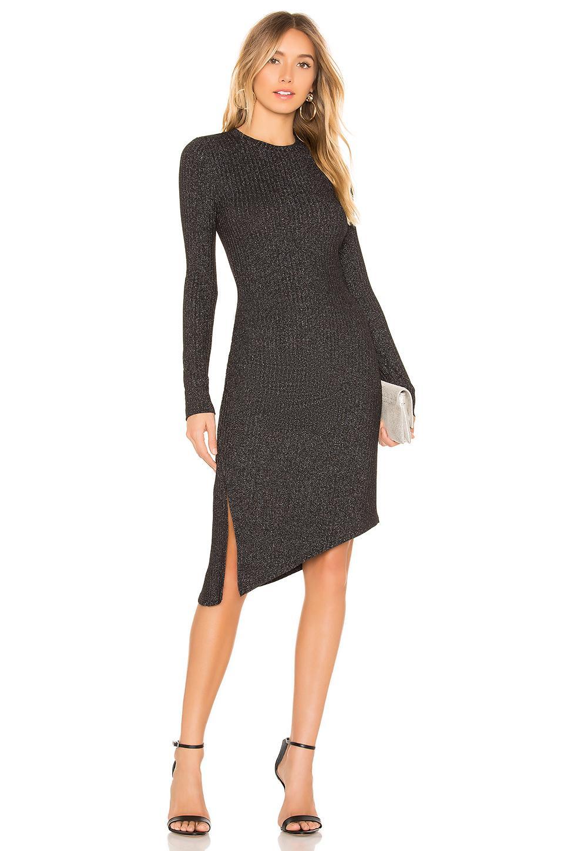 f02ce7606ebb David Lerner Long Sleeve Asymmetrical Ruched Dress In Black. | ModeSens