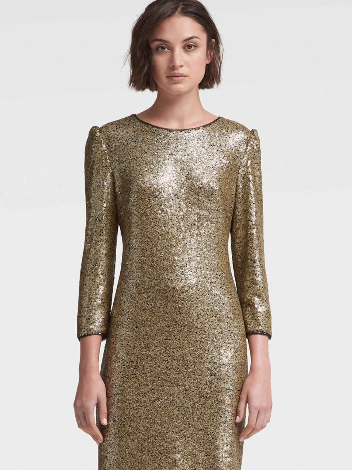 93dc6824 Dkny Long-Sleeve Sequin Dress, Created For Macy's In Gold   ModeSens