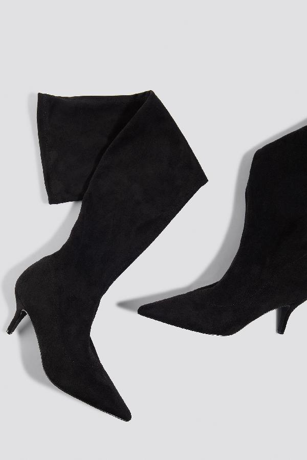 newest collection 758fe c57f2 Na-Kd Overknee Kitten Heel Boots - Black