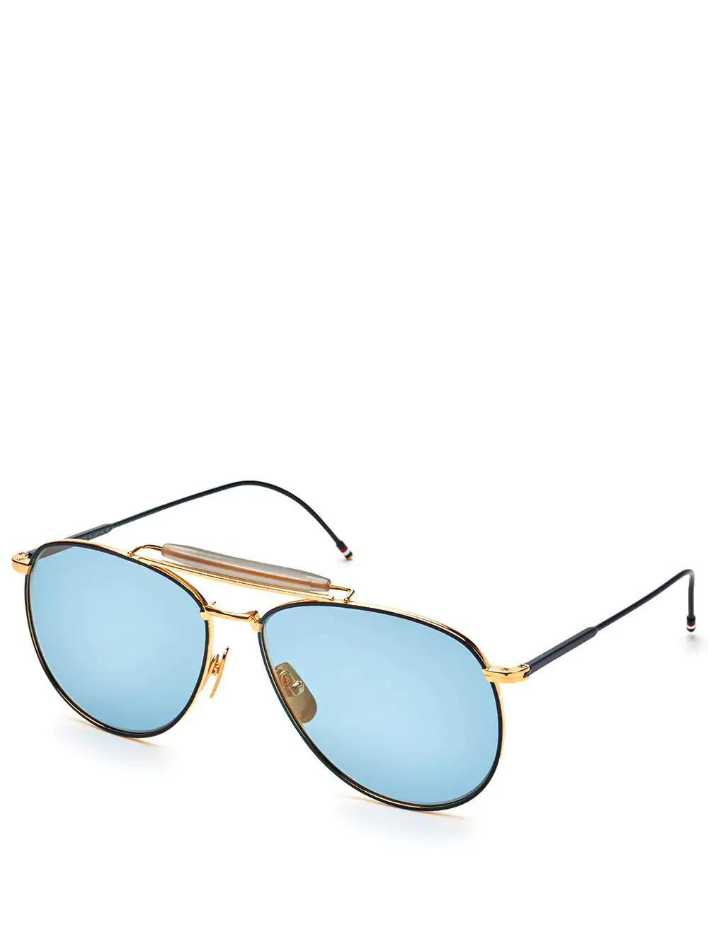 353b61648e88 Thom Browne Eyewear Matte Navy   Yellow Gold Aviator Sunglasses In Blue