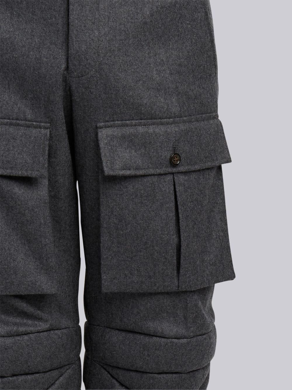 THOM BROWNE THOM BROWNE ARTICULATED SOLID WOOL FLANNEL TROUSER,MTC067A0089112559486