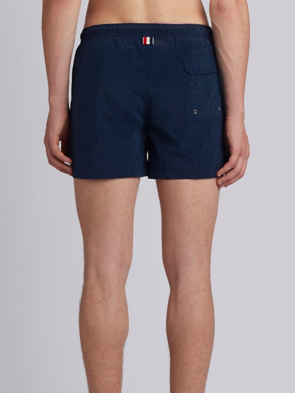 9b68595c4bf9e Thom Browne Classic Swim Trunk With Red, White And Blue Grosgrain Side Seam  In Navy