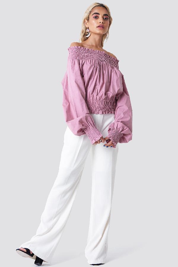 fa3fcca3b66e Na-Kd Balloon Sleeve Off Shoulder Blouse - Pink