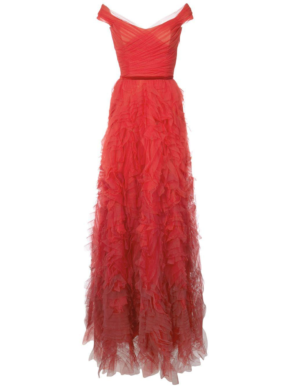 e3af740d25 Marchesa Notte Off Shoulder Ombré Textured Gown In Red | ModeSens