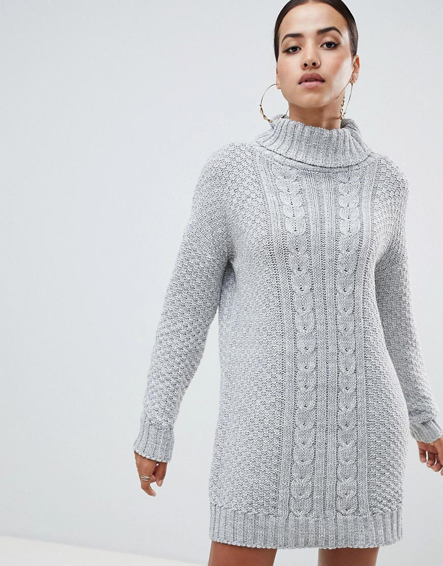 21e12539503 Ax Paris Cable Knit High Neck Sweater Dress - Gray