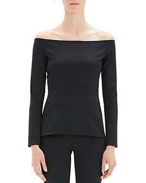 c8125862dd7 Theory Off-Shoulder Long-Sleeve Fitted Top In Black | ModeSens