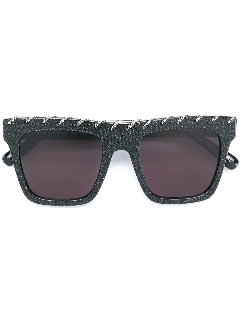df9f7faf1403 Stella Mccartney Eyewear Square Chain Sunglasses - Black