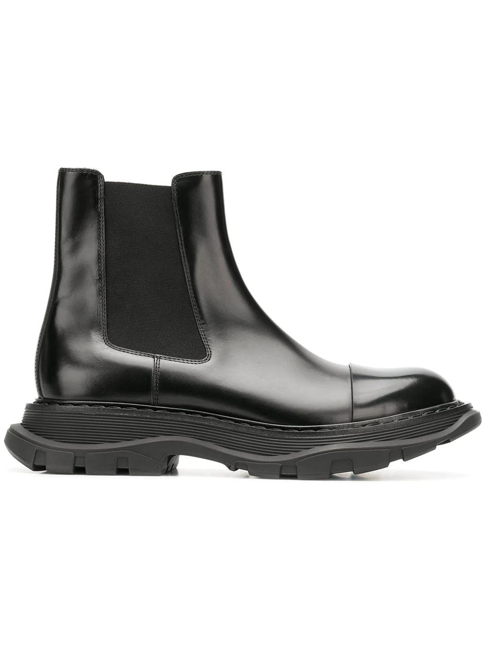 d5b1cc27d1e4 Alexander Mcqueen Tread Black Leather Chelsea Boots