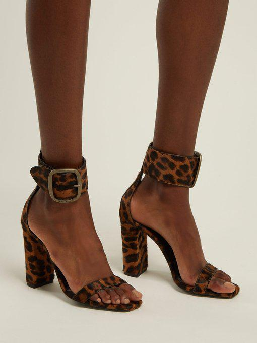 d078083f1e Loulou Buckle Sandal In Leopard Printed Pony Effect Leather in Brown