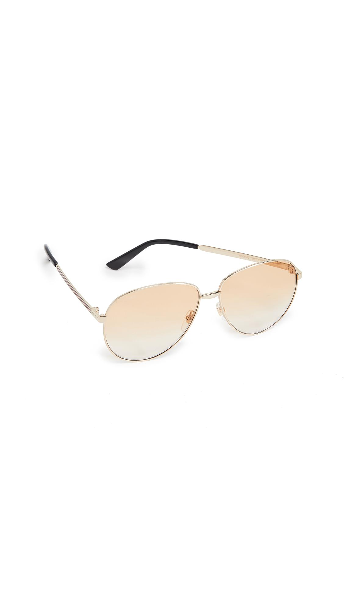 4ffcff916eb Gucci Vintage Web Pilot Aviators In Gold Brown Gradient