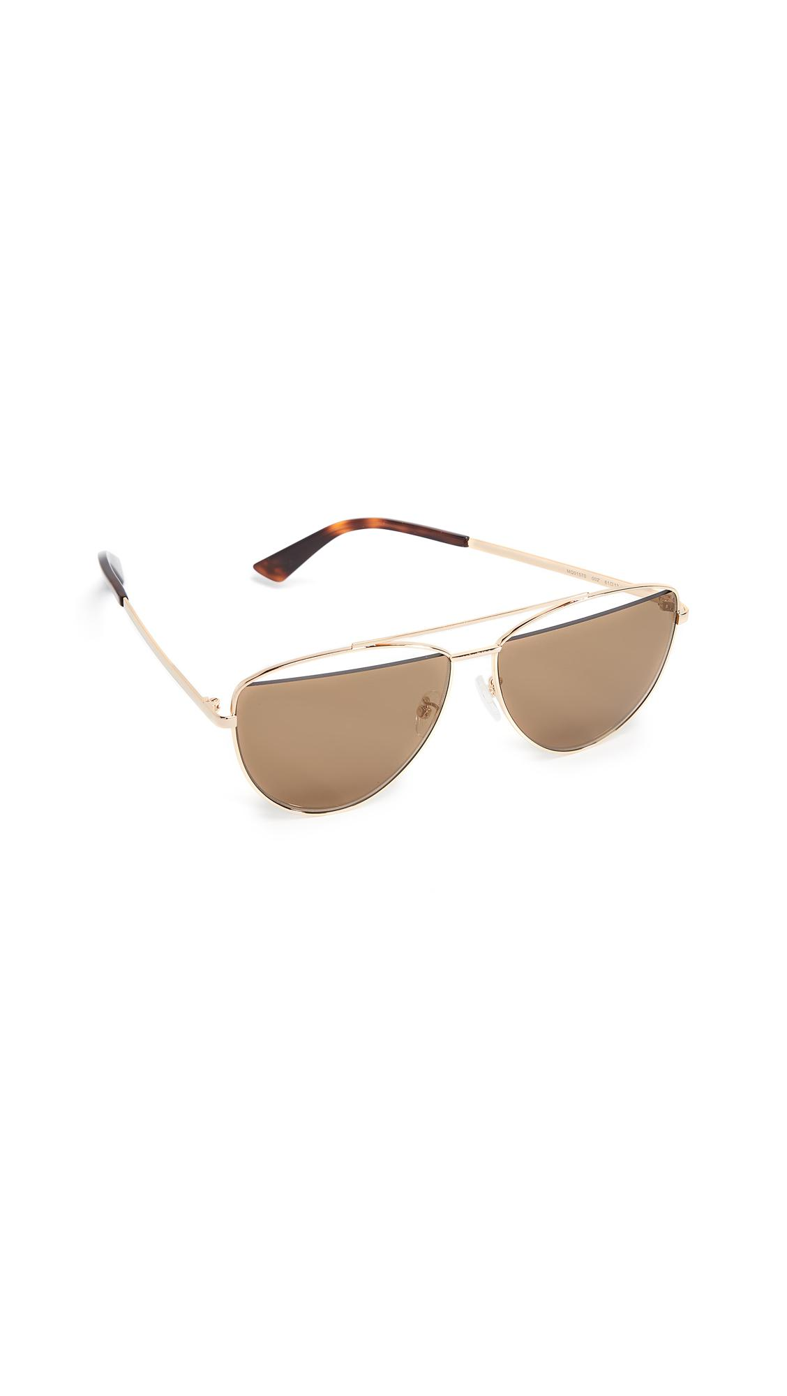 d21d61129ed Mcq By Alexander Mcqueen Iconic Pilot Frame Sunglasses In Gold Brown ...