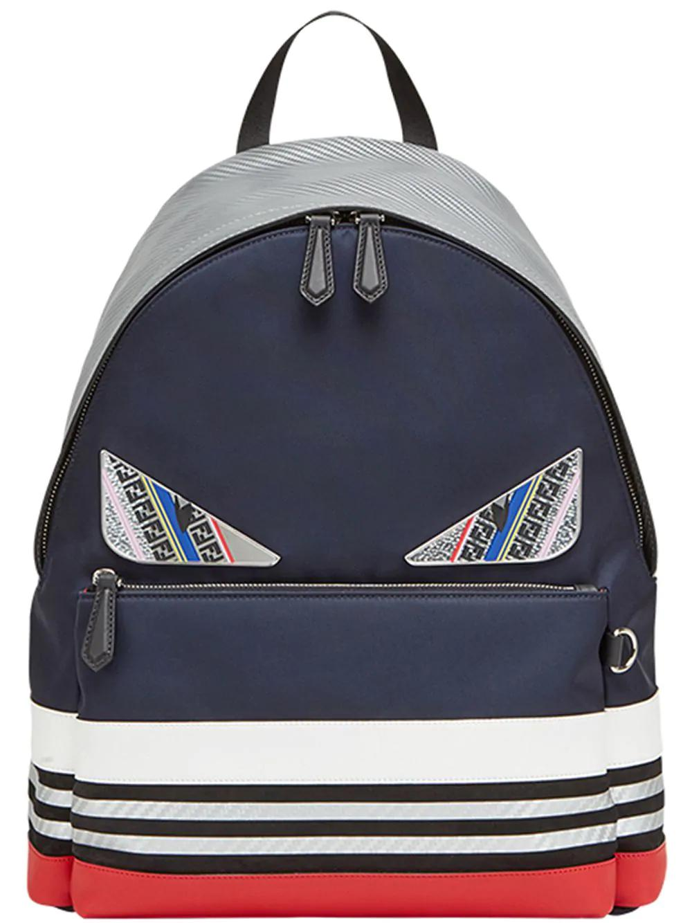 b08fadd2f592 Fendi Colour Block Appliqué Backpack - Blue