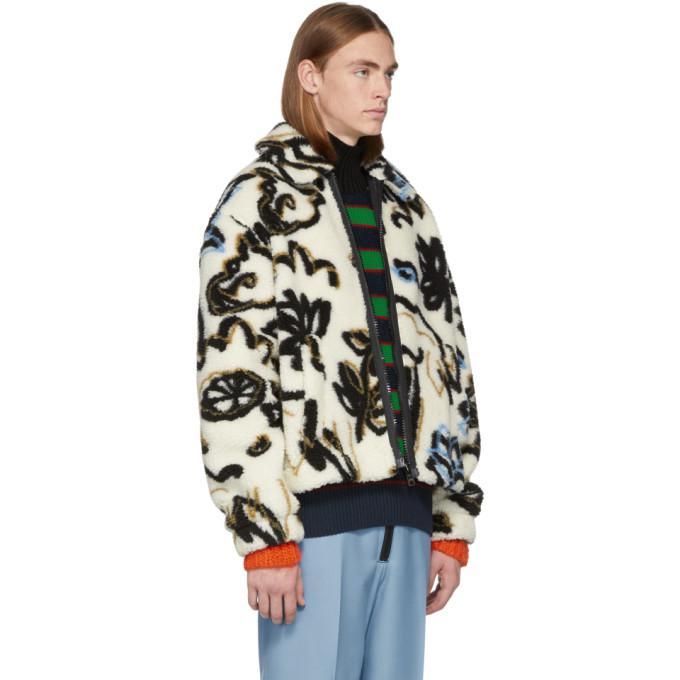 9ad96e337 Kenzo White Sherpa Sketch Memento Zip Jacket In 03 Ecru | ModeSens