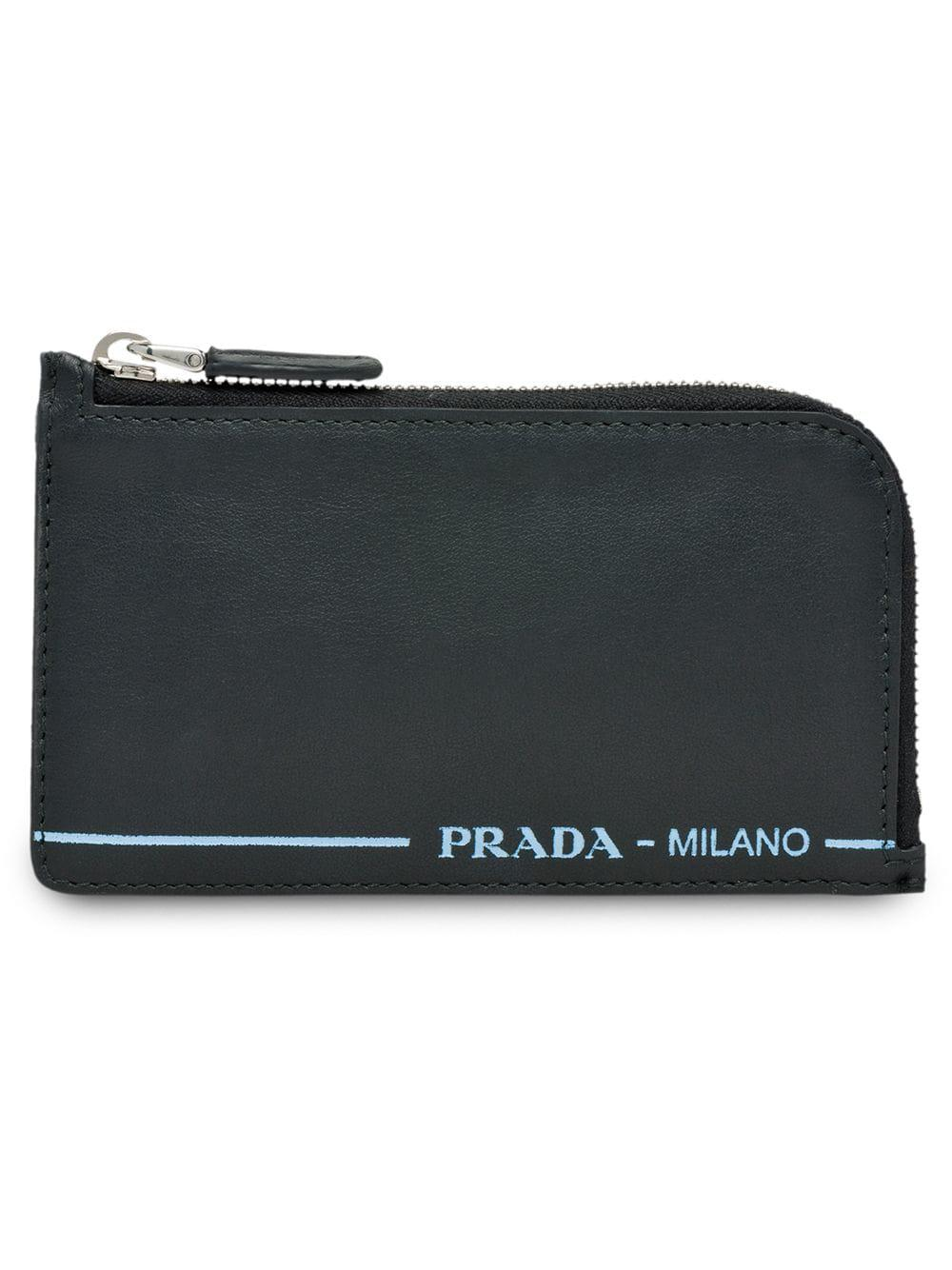 755d97c625e8 Prada Zipped Leather Logo Cardholder In Black   ModeSens