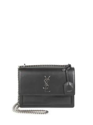 Saint Laurent Medium Sunset Grained Leather Silver Chain Bag In Black ee268451c410d