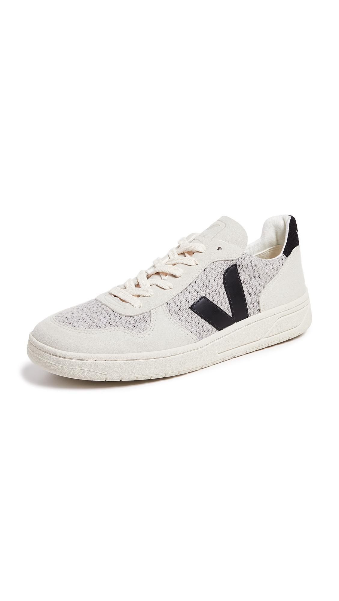 2c0c39c3a4c0e6 Veja V-10 Flannel Sneakers In White Multi