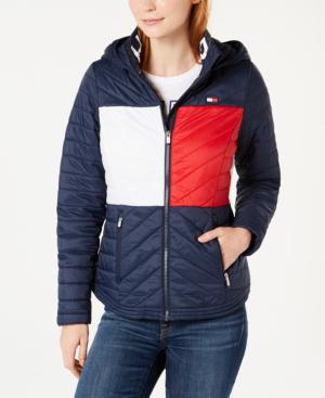 käytettävissä erinomainen laatu koko 7 Sport Flag Hooded Puffer Jacket in Heritage Combo