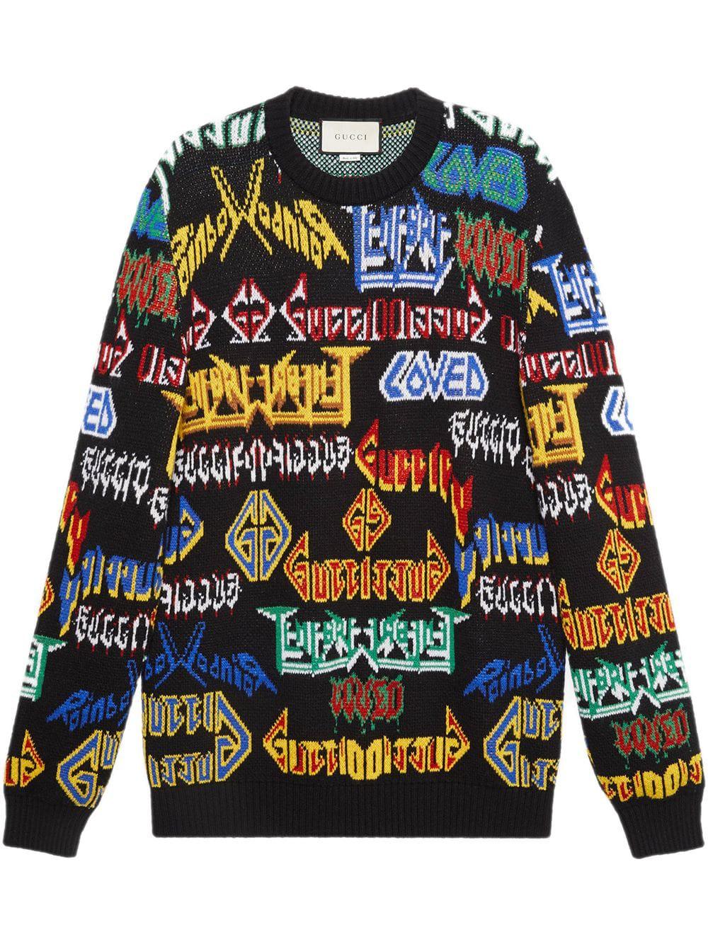 5648973ebd2 Gucci Men s Medley Logo Intarsia-Knit Sweater In Black